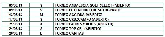 Calendario Golf